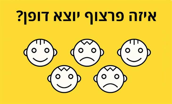 מבחני אישיות לבדיקת האינטליגנציה וכוח המוח: חמש פרצופים, שאחד מהם יוצא דופן