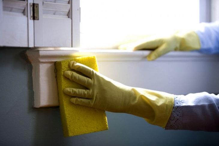חומרי ניקוי מפתיעים בבית: ידיים בכפפות עוסקות בניקוי עם ספוג