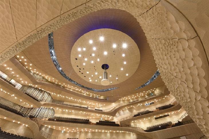 אולם הקונצרטים החדש בהמבורג: תקרת האולם ויציעיו