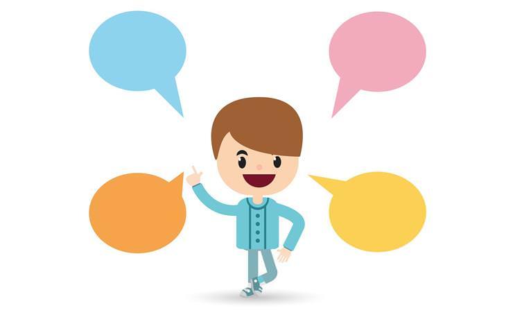 איך לכוון את הילדים להצלחה על פי תפקידם בכיתה: איור של ילד עם בועיות דיבור לידו
