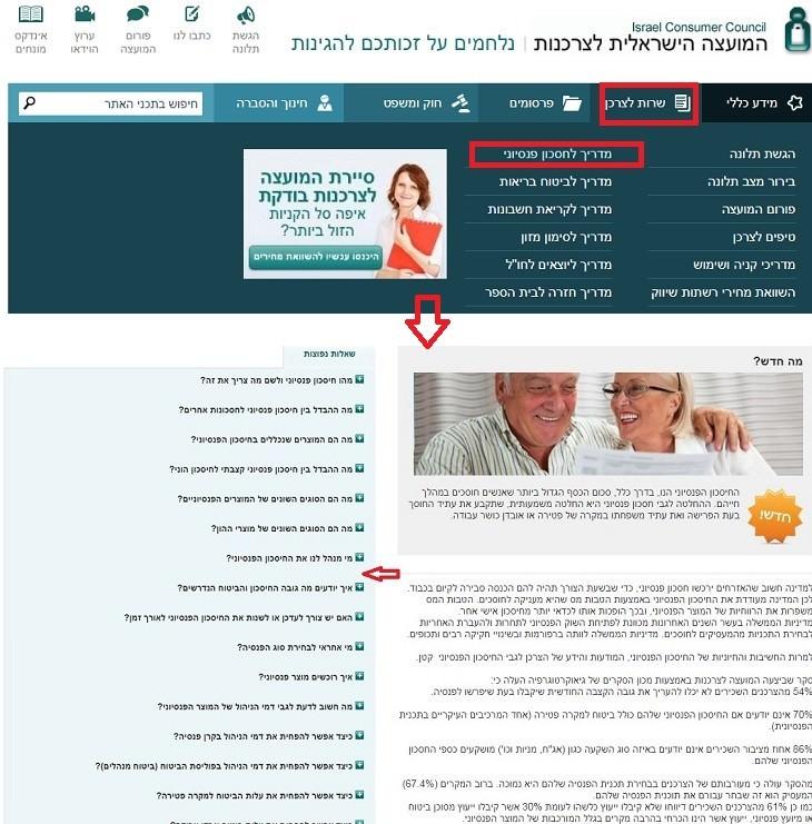 המועצה הישראלית לצרכנות: מדריך החיסכון הפנסיוני באתר המועצה