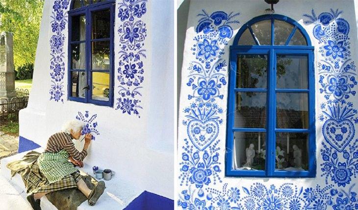 קשישה מציירת על קירות ביתה: אגנס קספרקובה בעת העבודה על ציורי הקירות