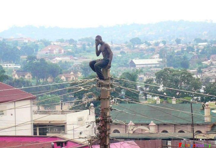 דברים מצחיקים שרואים רק באפריקה: גבר יושב על עמוד חוטי טלפון