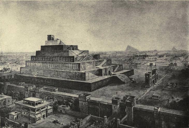 עדויות והסברים לסיפורי התנך: ציור של מגדל בבל