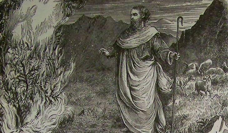 עדויות והסברים לסיפורי התנך: איור של משה מול הסנה הבוער