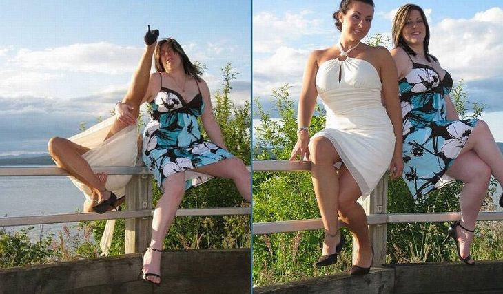 אנשים שעוברים יום גרוע: שתי נשים שהצטלמו על גדר ונפלו