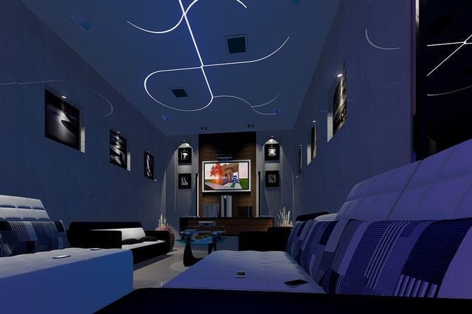 איזה ריאליטי מתאים לך: גרפיקה ממוחשבת של חלל סגור עם ספות ומסך טלוויזיה