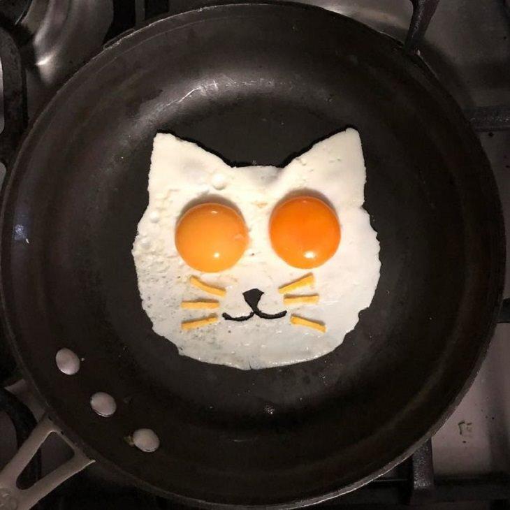 יצירות אמנות מביצים: פני חתול