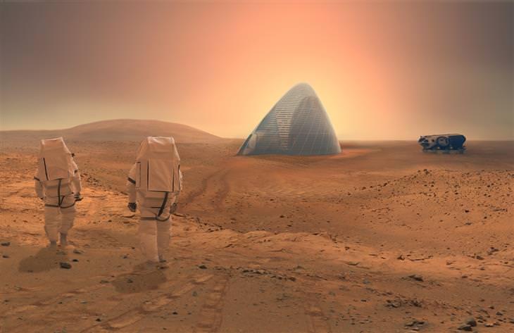 צמד אסטרונאוטים הולכים לעבר כיפת בית קרח על מאדים