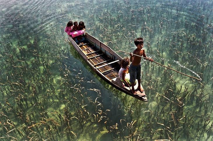 ילדים על סירה שטים על מים שמתחתם צמחייה רבה