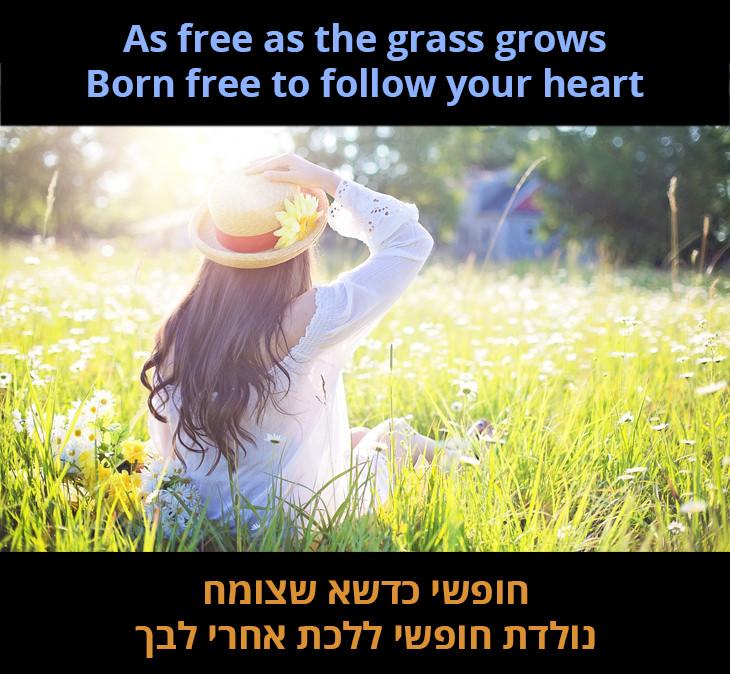 חופשי כדשא שצומח נולדת חופשי ללכת אחרי לבך