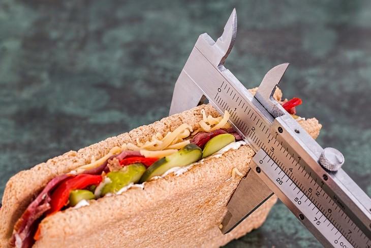 סרגל מדידה שמודד עובי של כריך