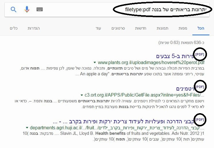 טיפים לשימוש בגוגל: הסבר על חיפוש מסמכים מסוג מסוים בגוגל