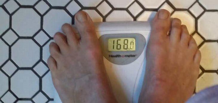 ג'ורג' עומד על משקל שמראה 168 פאונד