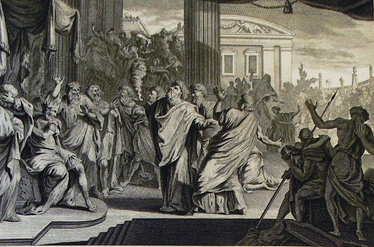 ציור: משה מטיל את המכות על מצרים