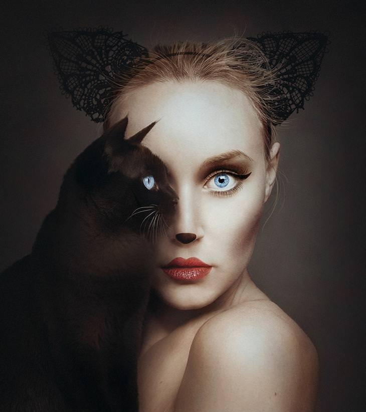 פלורה עם חתול שחור