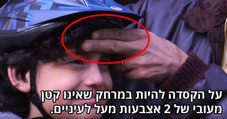 על הקסדה להיות במרחק שאינו פחות מעובי של 2 אצבעות מעל לעיניים.