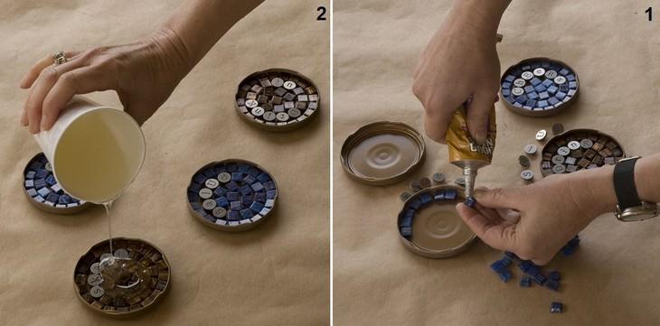 שלבי הכנה של תחתיות לכוסות עם פסיפס