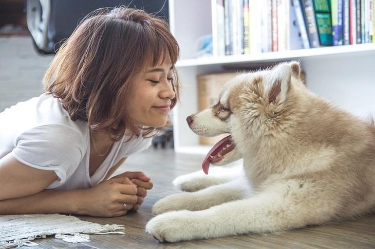 אישה וכלב