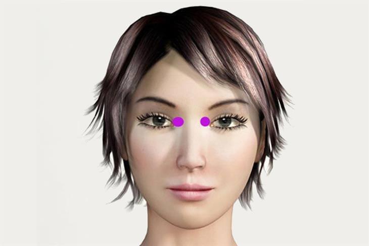 נקודות לחיצה לשיפור הראייה: נקודת לחיצה קצה העין הפנימי