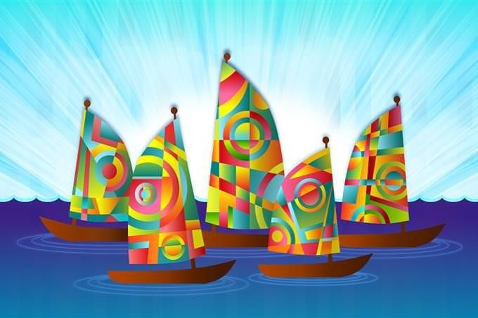 סירות מפרש צבעוניות