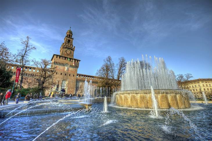 מסלול טיול באיטליה: מזרקה במילאנו