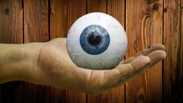 גלגל עין גדול מונח על כף יד