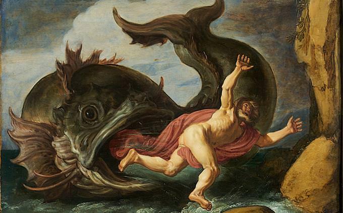 איור של יונה הנביא נשאב לפיו של הלווייתן