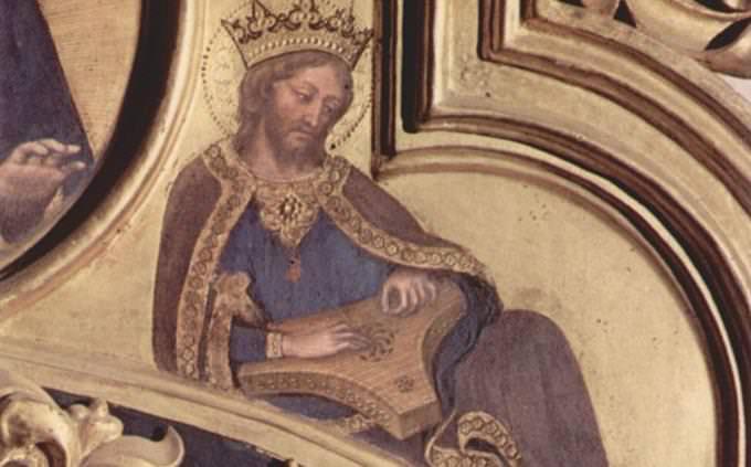 איור של המלך דוד מנגן על נבל עתיק