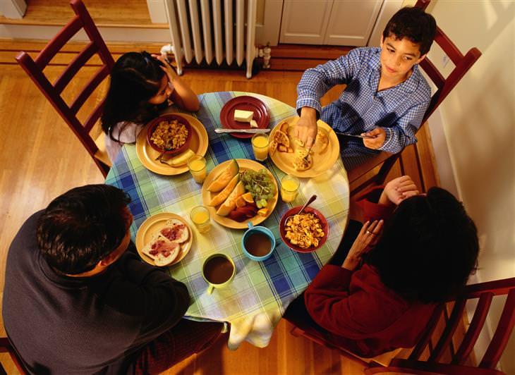 משפחה יושבת סביב שולחן אוכל בפיג'מות