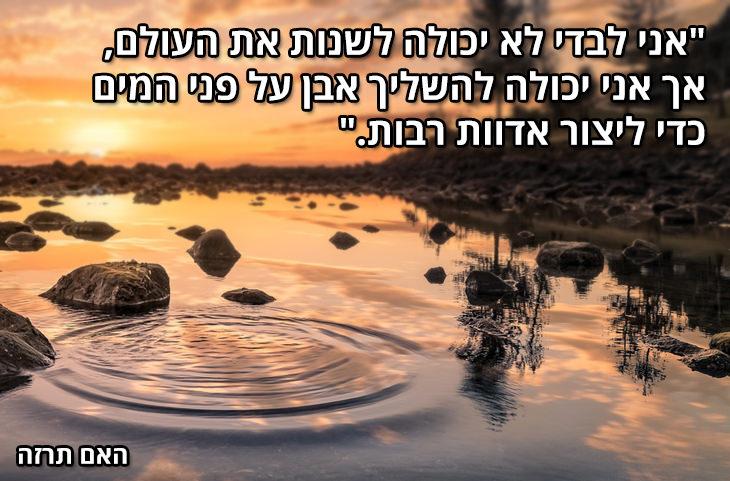 """""""אני לבדי לא יכולה לשנות את העולם אך אני יכולה להשליך אבן על פני המים כדי ליצור אדוות רבות."""" האם תרזה"""