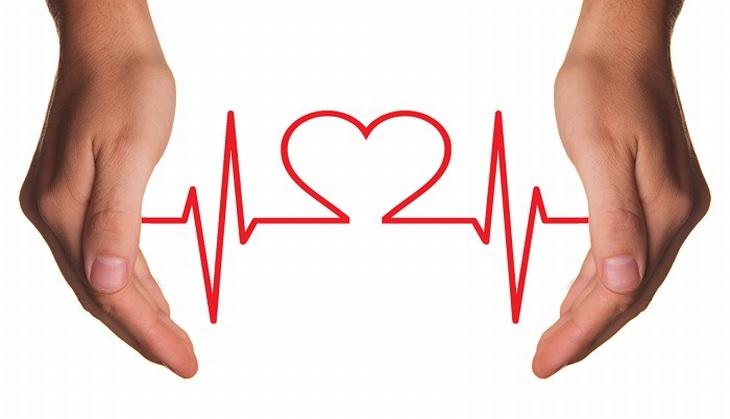 איור של קווי מוניטור שיוצרים צורת לב בין 2 ידיים