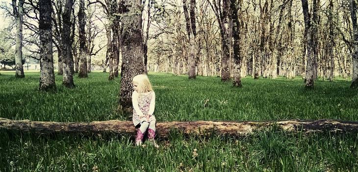 טיפים להורים של ילדים ביישנים ומופנמים: ילדה יושבת לבדה על בול עץ ביער