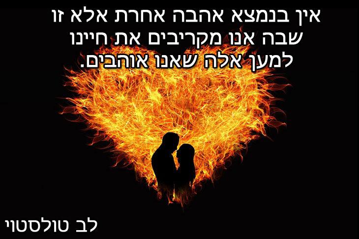 """ציטוט של לב טולסטוי: """"אין בנמצא אהבה אחרת אלא זו שבה אנו מקריבים את חיינו למען אלה שאנו אוהבים"""""""