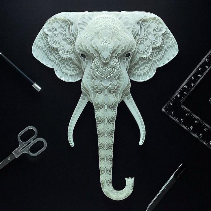 יצירת חיתוך נייר בצורת ראש פיל