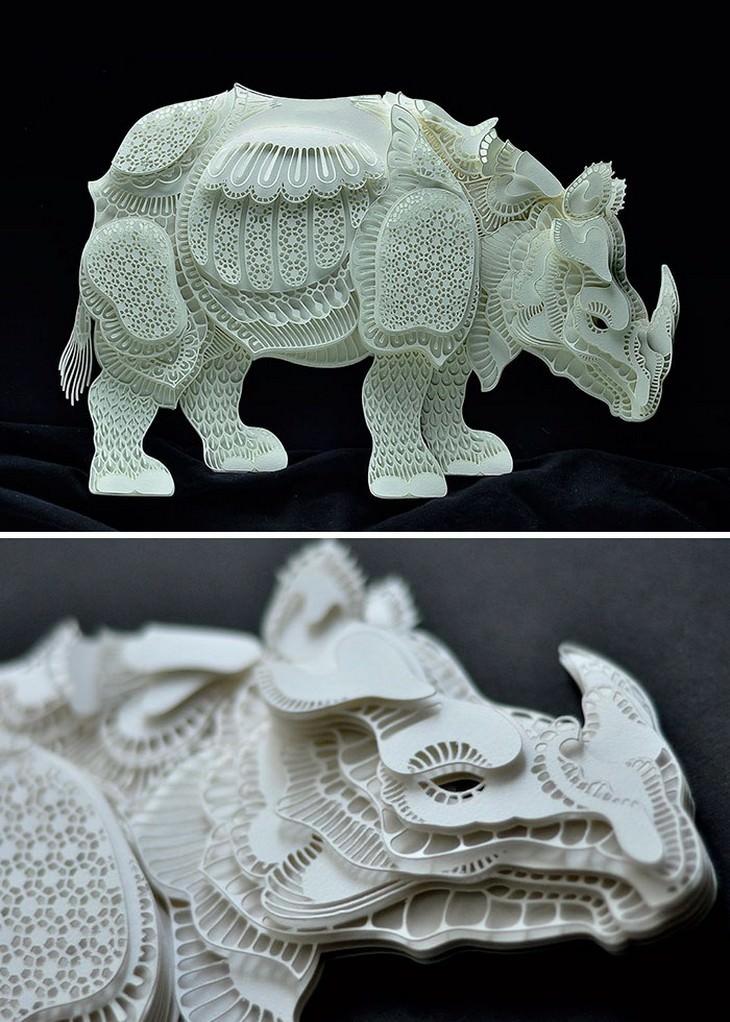יצירת חיתוך נייר בצורת קרנף