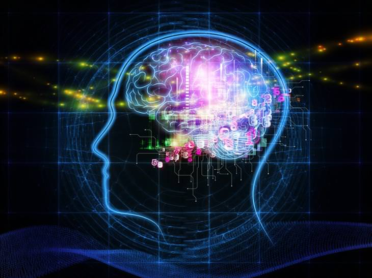 ציור של מוח צבעוני מלא במספרים וצורות