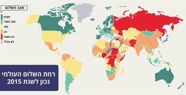 מפות עם פרטים מרתקים על העולם וישראל: רמת השלום בישראל היא טובה