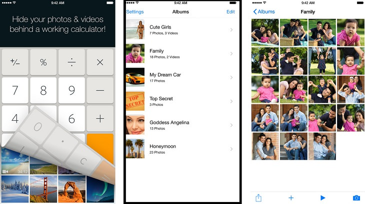 אפליקציות חינמיות להסתרת מידע: צילומי מסך של אפליקציות Smart Hide Calculator ו-Calculator+