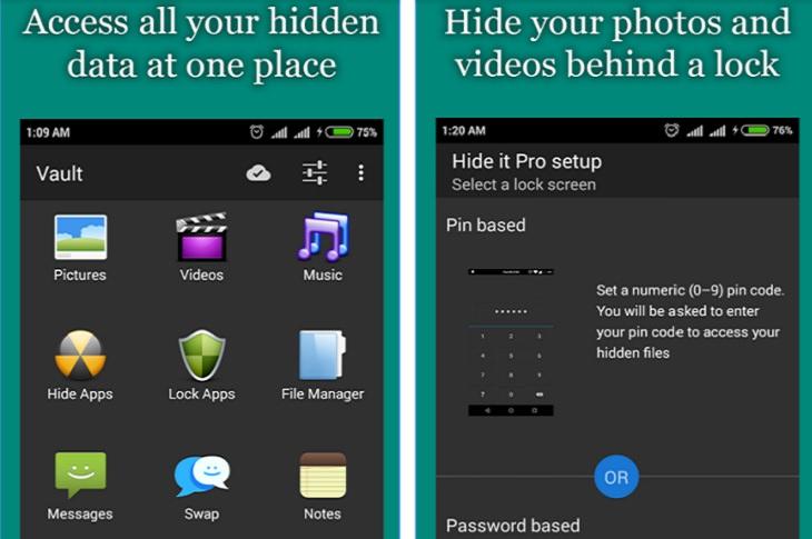 אפליקציות חינמיות להסתרת מידע: צילומי מסך של אפליקציית Hide it Pro