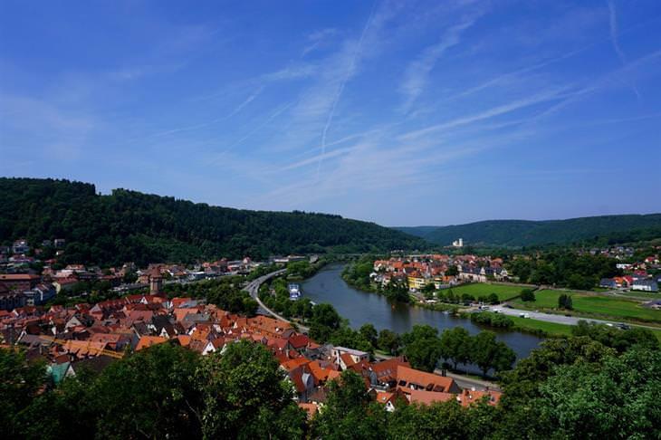 עיירות ציוריות בגרמניה: צילום עילי של בתים בעיירה שעובר דרכה נהר