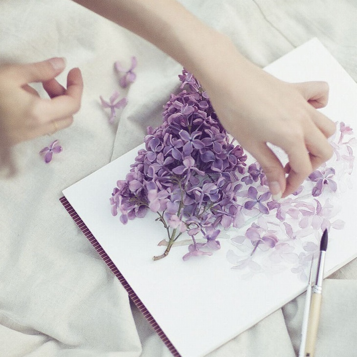 יצירות של האמנית אלנה לימקינה: פרחי לוונדר תלת ממדיים