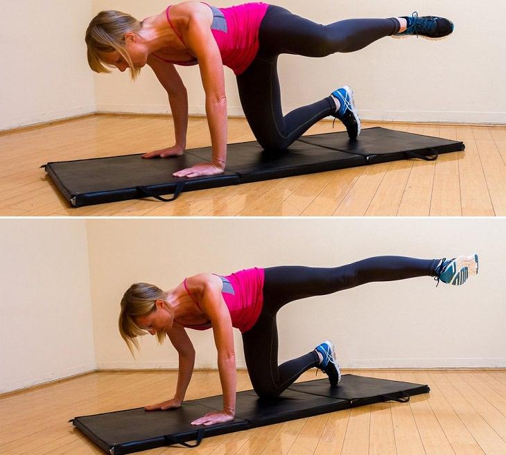 תרגילים בתנוחת עמידה על 4: תרגיל בעיטות צדיות