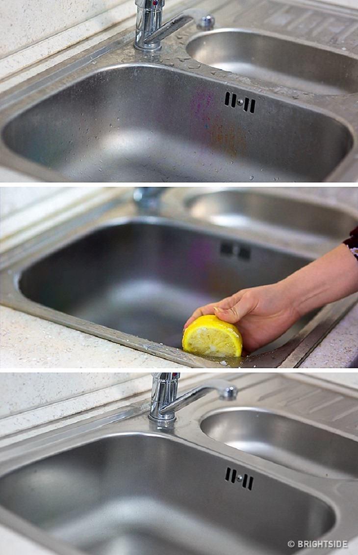 טיפים בדוקים לניקיון בחומרים טבעיים: ניקוי כיור נירוסטה בעזרת לימון ומלח