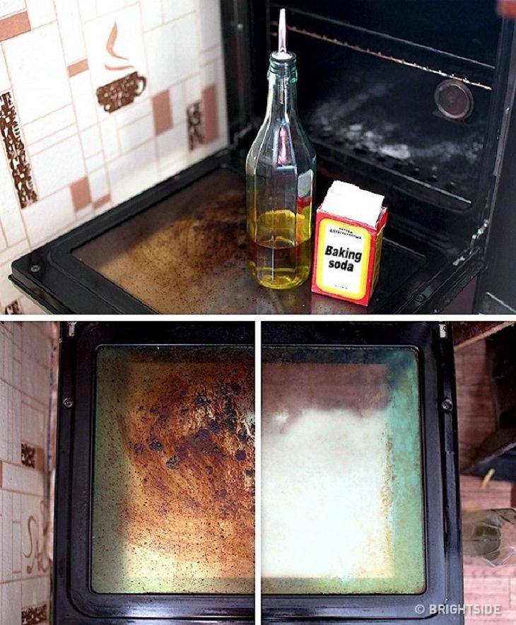 טיפים בדוקים לניקיון בחומרים טבעיים:  ניקוי דלת התנור עם אבקת סודה לשתייה ושמן צמחי