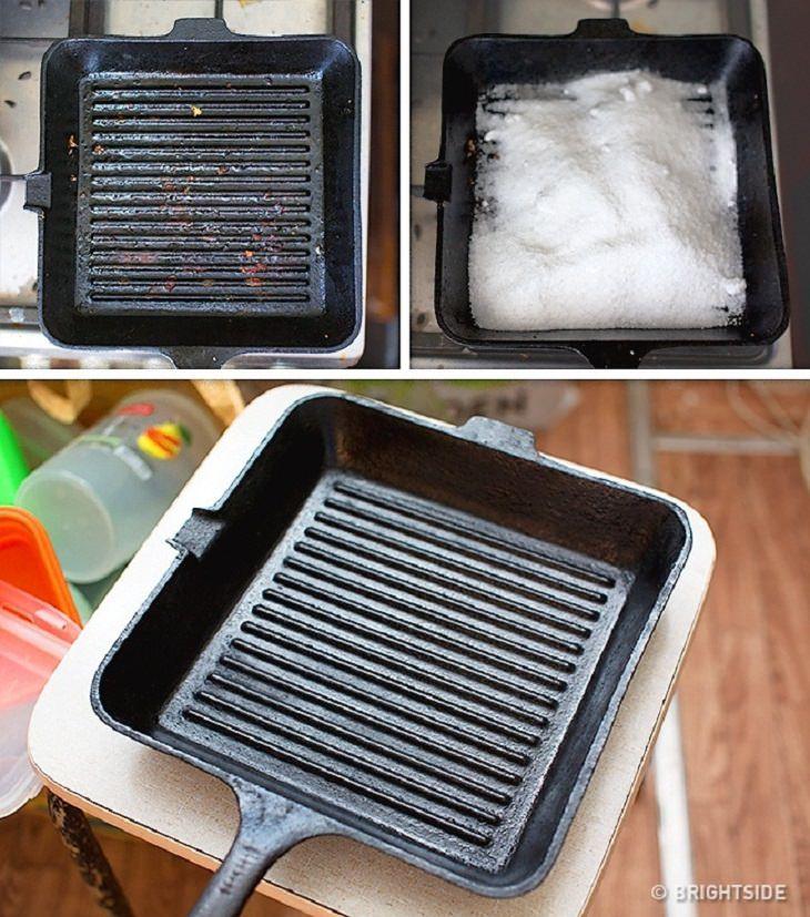 טיפים בדוקים לניקיון בחומרים טבעיים: ניקוי מחבת פסים מברזל יצוק עם מלח