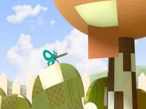 סרטוני אנימציה: מספריים על גבעה עם טלאים עליה