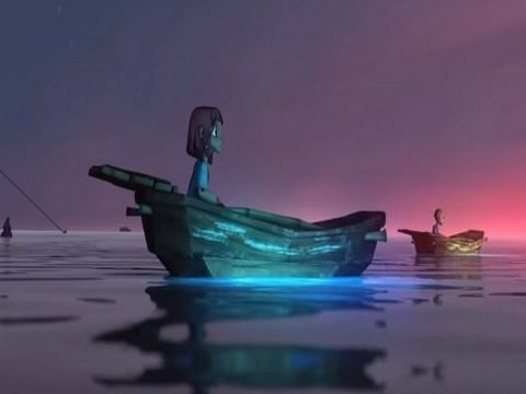 סרטוני אנימציה: נערה בתוך סירה במים
