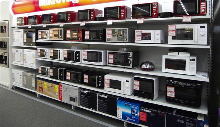 נוהל פינוי פסולת אלקטרונית: תצוגת מיקרוגלים בחנות אלקטרוניקה