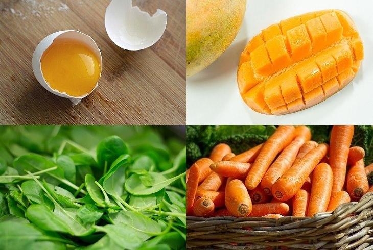מניעת בעיות בעור על ידי תזונה: חלמון ביצה, מנגו, תרד וגזר